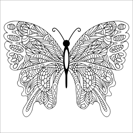 lightweight: Hand drawn doodle butterfly Illustration