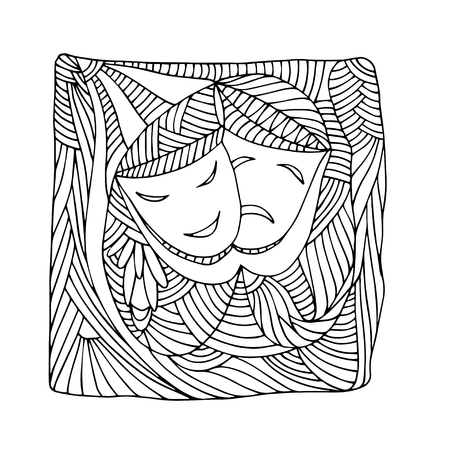 theatre masks: Theatre masks tragedy comedy - Illustration, doodle Illustration