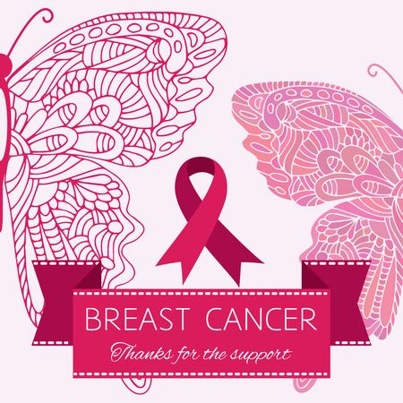 Symbol of breast cancer woman support