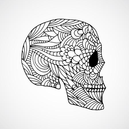 swirled: Hand drawn doodle swirled skull profile Illustration