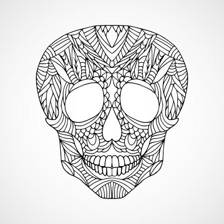 swirled: Hand drawn doodle swirled human skull