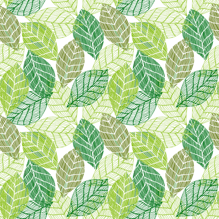 Colorful green seamless leafs background