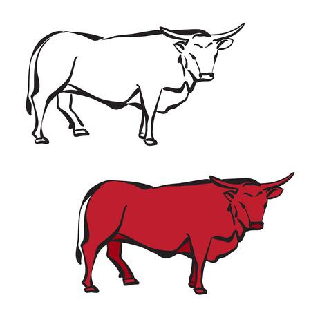 head shape: Isolated silhouette of bull Illustration