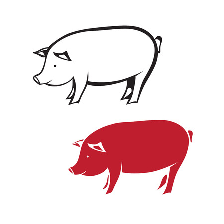hooves: Isolated silhouette of pig