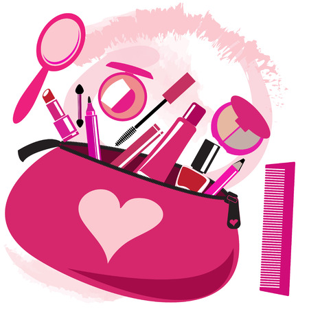 cosmetician: Makeup bag with beautician tools