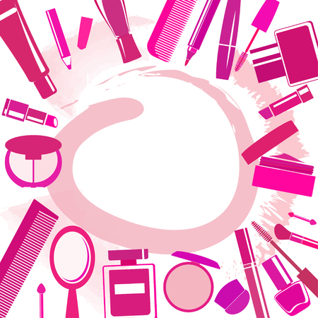 blobs: Background with different make-up items, blobs and copy space Illustration