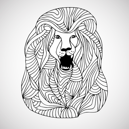 white lion: Decorative hand drawn lined lion