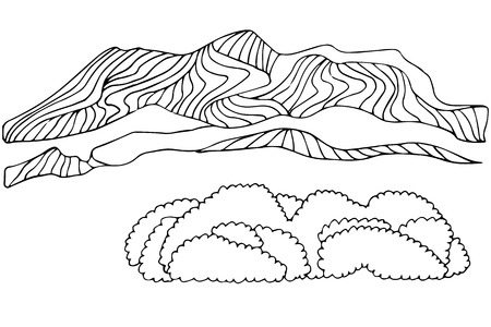 wilderness area: Hand drawn isolated mountain and bushes