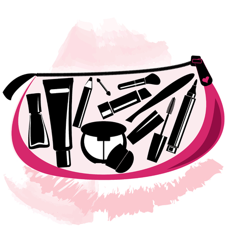 beautician: Makeup bag with beautician tools inside