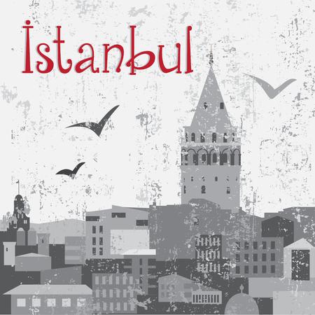 turkish ethnicity: Istanbul Galata Tower on grunge background Illustration