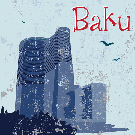 mid century: Night Baku Maidens Tower Illustration