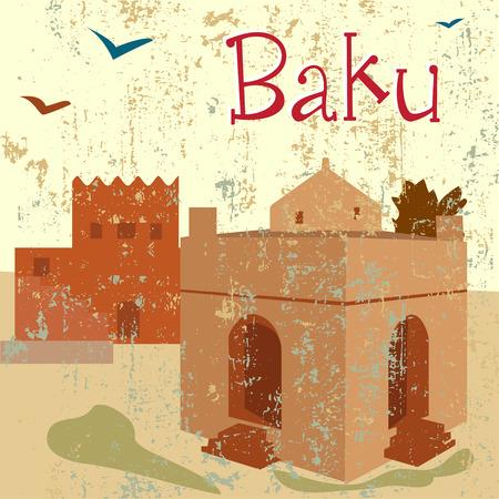 mid century: Baku old relogious monument Atesh-cah Illustration
