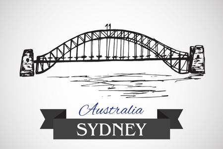 bridge hand: Hand drawn Sydney Harbour Bridge on white background