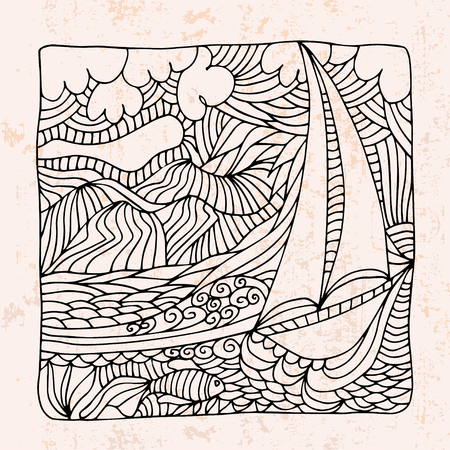 indian fish: Zentangle with boat, sea and clouds Illustration