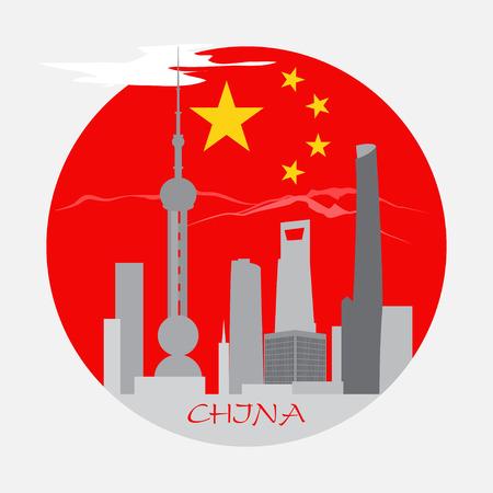 shanghai china: Shanghai buildings on China flag