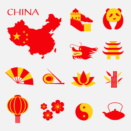 great wall of china: Set of China Infographic icons with China map