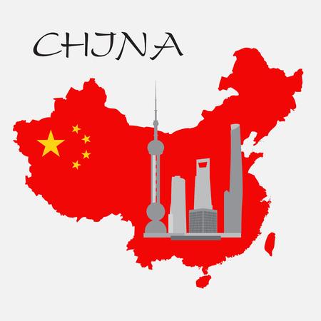 shanghai china: Shanghai buildings on China map