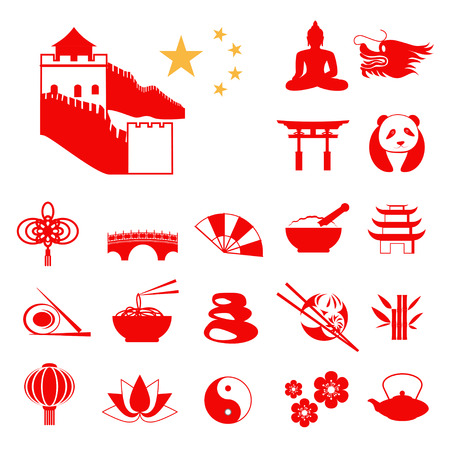 budha: Set of Red China Infographic icons with China stars Illustration
