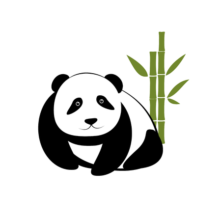 plant stand: Small panda with bamboo on white background Illustration