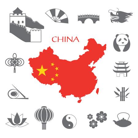 Set van China Infographic pictogrammen met China kaart