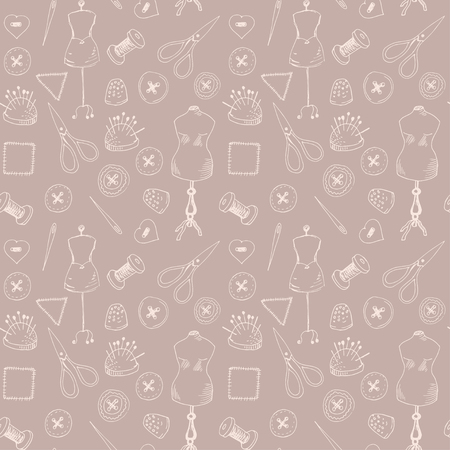needlecraft product: Seamless pattern with sewing items