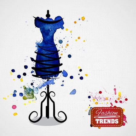 Aquarell blauen Kleid auf Mannequin