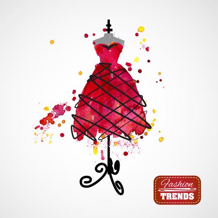 vestito rosso Acquerello su manichino