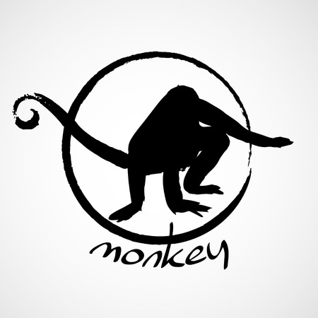scrambling: Isolated hand drawn monkey silhouette