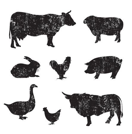 grazer: Silhouettes of hand drawn Farm animal