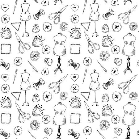 Nahtlose Muster Mit Nähen Artikel Lizenzfrei Nutzbare Vektorgrafiken ...