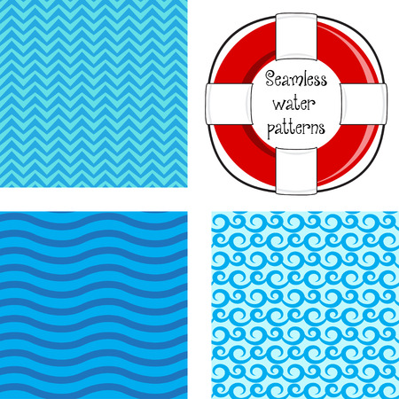 lifebelt: Seamless water pattern with lifebelt
