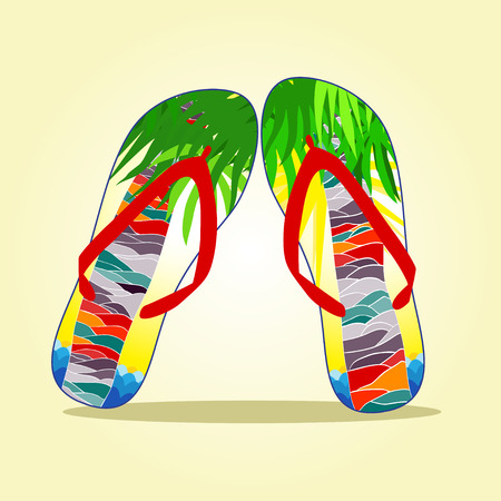 flip flop: Colorful flip flop with summer pattern