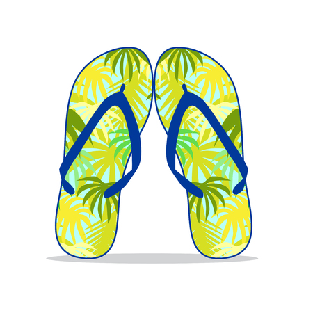 footware: Colorful flip flop with summer pattern