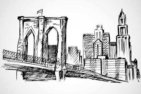 manhattan bridge: Hand drawn Brooklyn Bridge and buildings Illustration