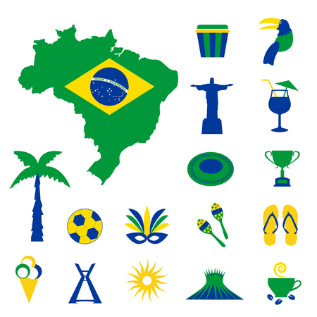 coffee crop: Brazil icons with map and flag Illustration