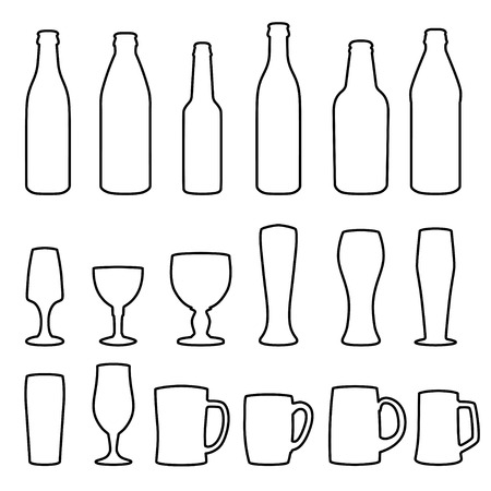 tumbler: Different types of glasses and bottles for drinking Illustration