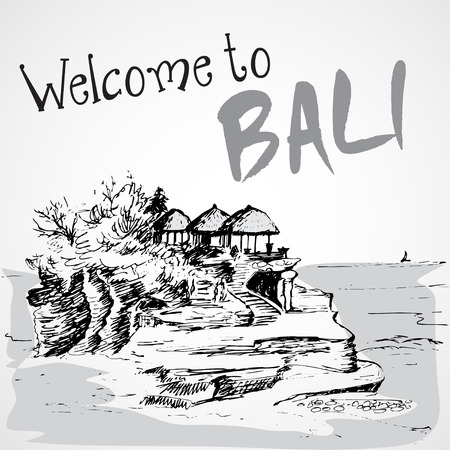a lot: Tanah Lot temple - Bali, Indonesia Illustration