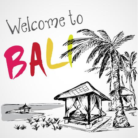 tropical beach panoramic: Sea view of Bali resort