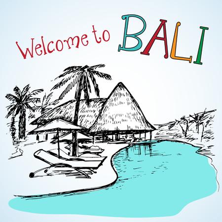 tropical beach panoramic: Vew of Bali resort near the water