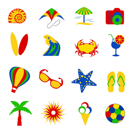gree: Colorful summer icons - red, gree, yellow and blue Illustration