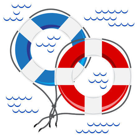 ring buoy: Two colorful Rescue belts on white background with ripples