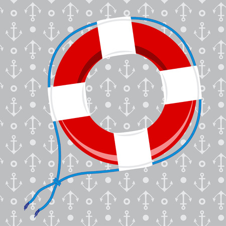 ring buoy: Rescue belt on seamless background with anchors