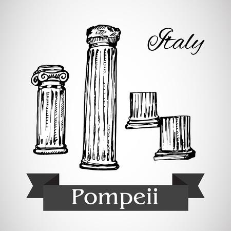 Ruins of Pompeii Vettoriali