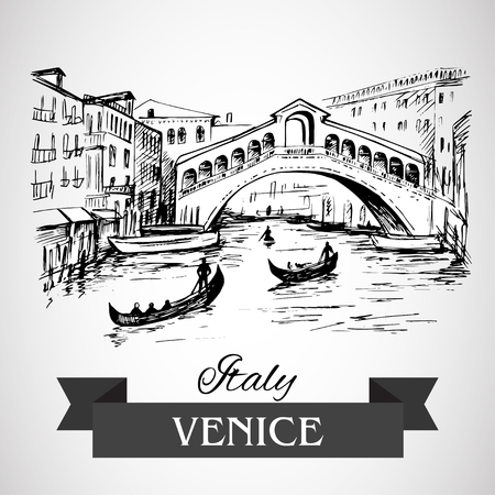 pencil drawings: Rialto Bridge, Venice