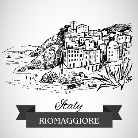 river rock: Riomaggiore village Illustration