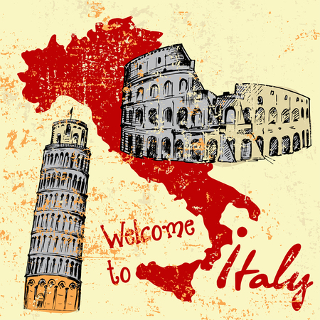 Grunge card with Italy map and some attractions