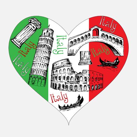 Heart shape with Italy symbols
