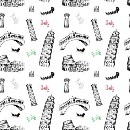 Seamless background with Italy symbols Çizim