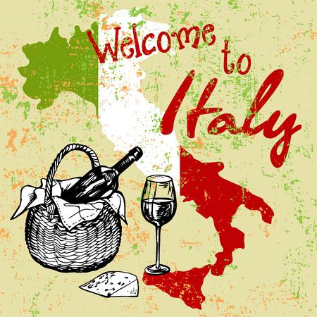 tuscany vineyard: Italian grunge background with vine