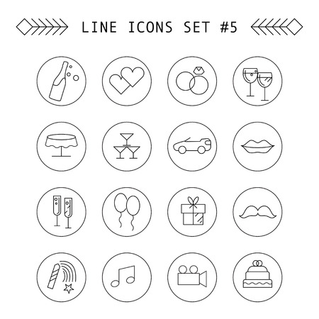 intertainment: Wedding and intertainment line icons